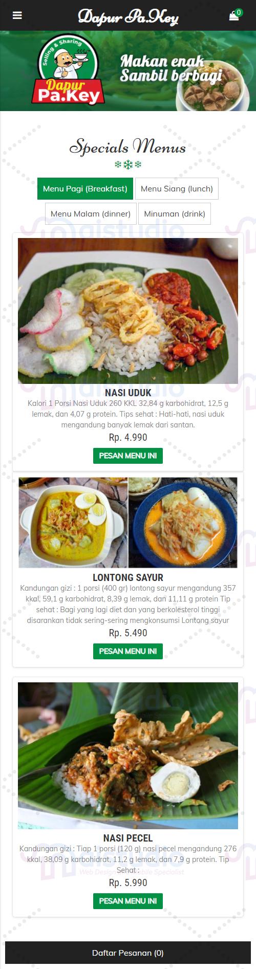 Aplikasi Pemesanan Menu Makanan Dapur Pa.Key
