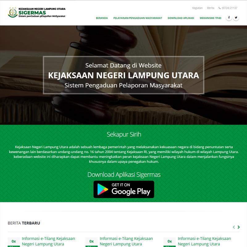 Website Kejaksaan Negeri Lampung Utara